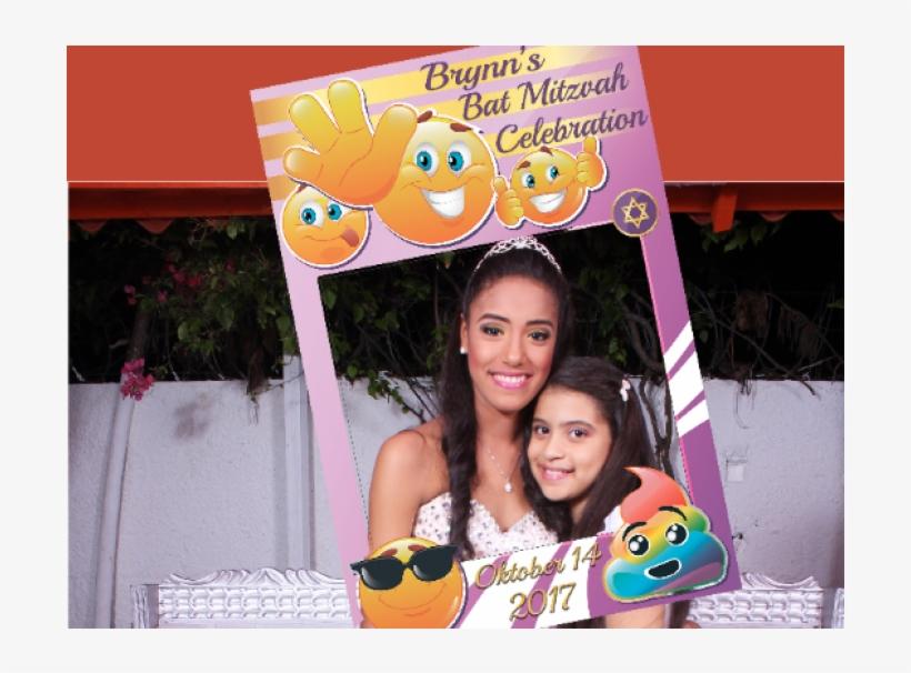 Large Custom Emoji Bat Mitzvah Photo Booth Prop Frame Birthday