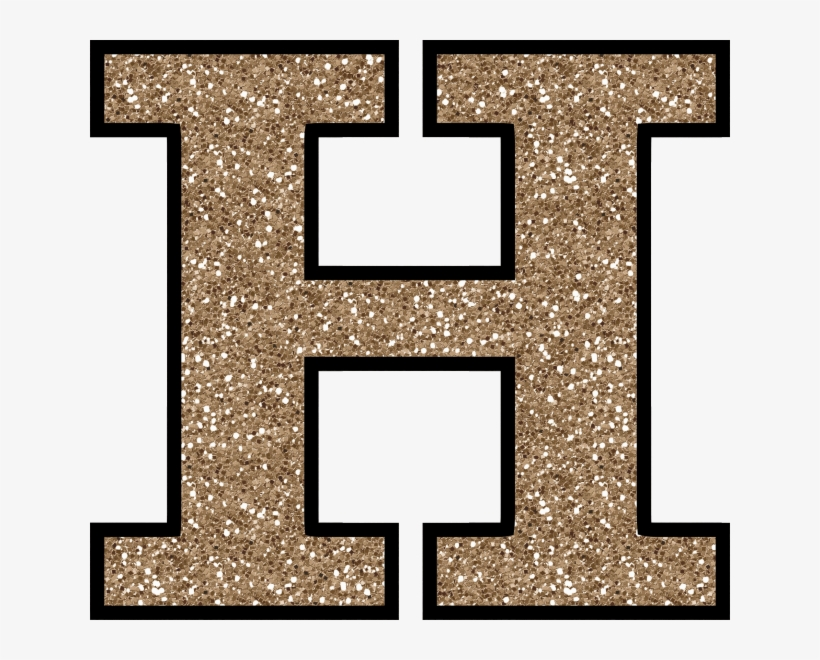 Glitter Without The Glue Free Digital Printable Alphabet - Gold Glitter Letter H, transparent png #1394781