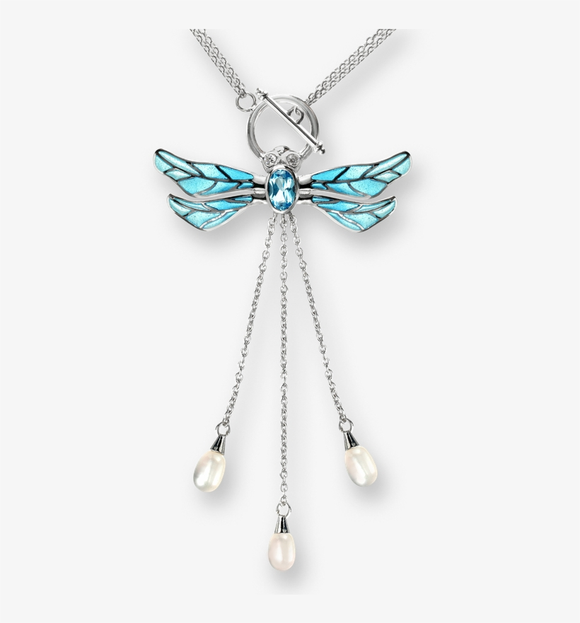 Nicole Barr Designs Sterling Silver Dragonfly Necklace-blue - Diamond Necklace With Transparent Background, transparent png #1395573
