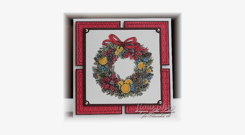 The Wreath Was Inked With Memento Black Onto European - Picture Frame, transparent png #140561