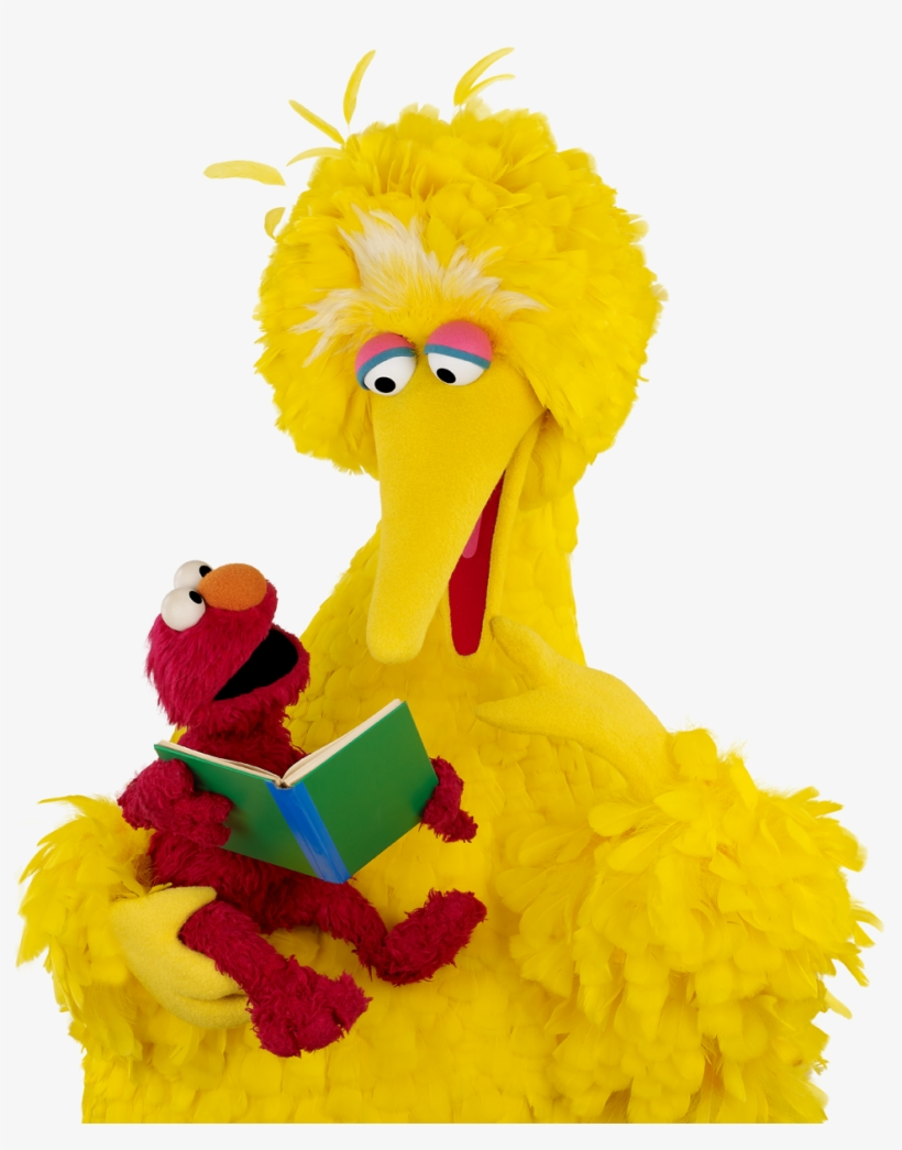 Elmo And Dad Reading Elmo Reading With His Dad, As - Big Bird Reading A Book, transparent png #140724