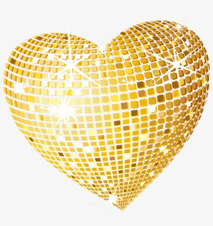 Gold Disco Heart Png Clipart Picture - Gold Heart Transparent Background, transparent png #142399