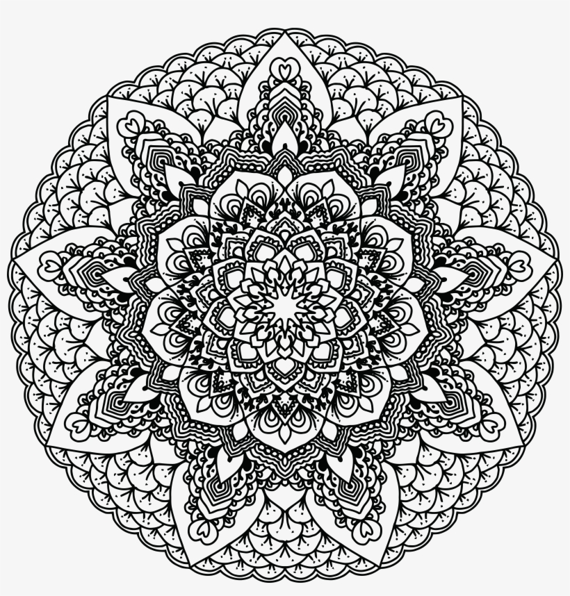 Free Clipart Of A Black And White Adult Coloring Page - Black And White Mandala Png, transparent png #143478