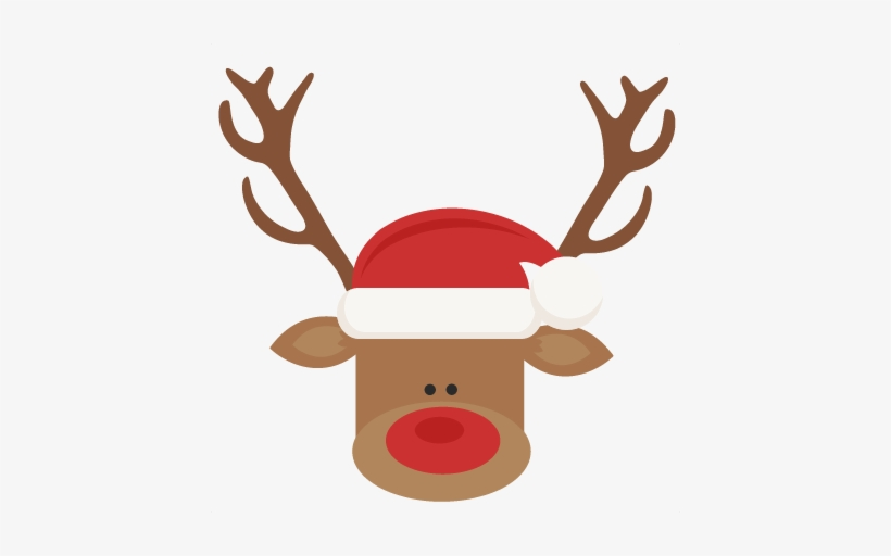 Reindeer With Santa Hat Svg Cutting Files For Scrapbooking - Clip Art Cute Christmas Cookies, transparent png #143948