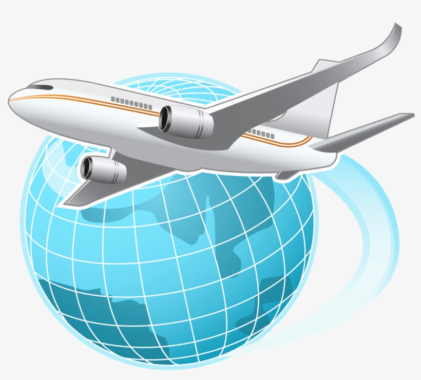 Vector Transparent Download Airplane Vacation Clipart - Globe With Airplane Png, transparent png #144708