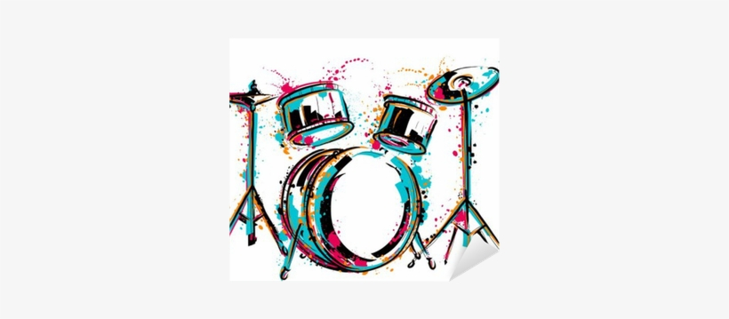 Drum Kit With Splashes In Watercolor Style - Colorful Drums, transparent png #144996
