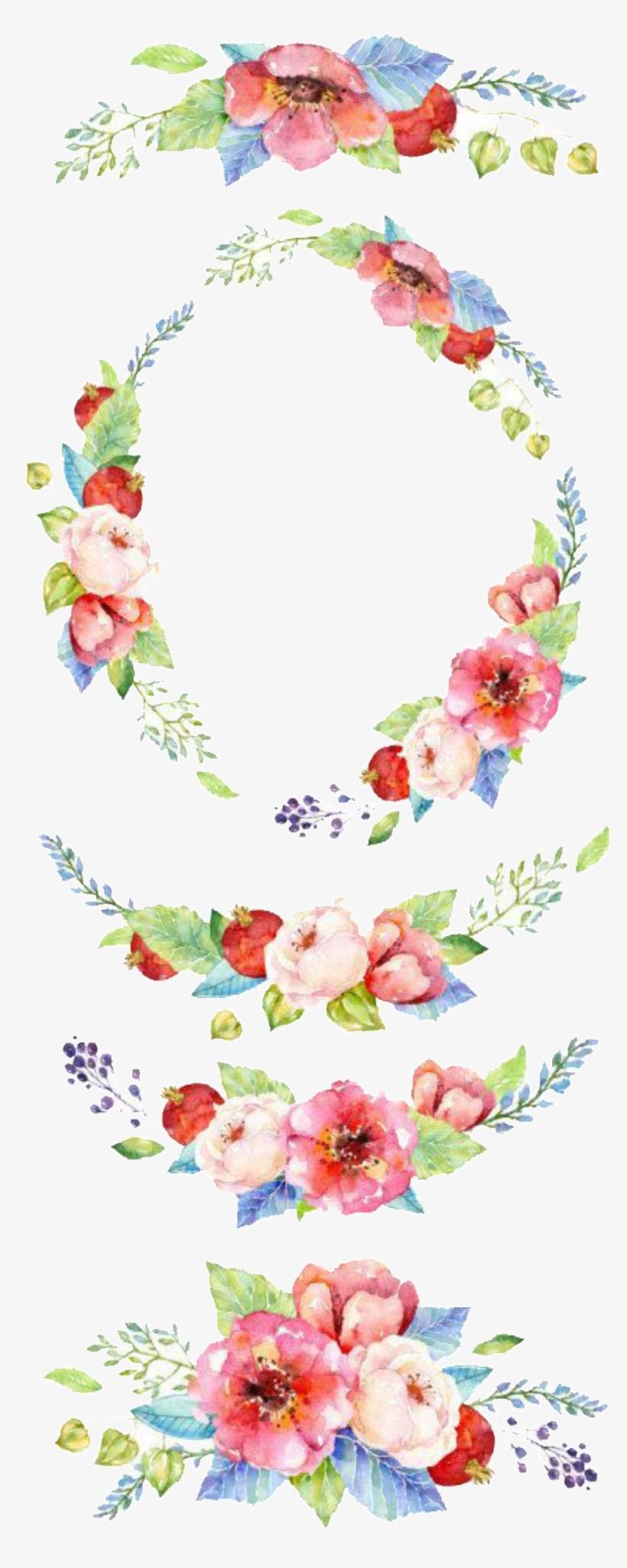 Fresh Watercolor Flowers Hand Drawn Wreath Decorative - Flowers Clip Art Invitations, transparent png #145293