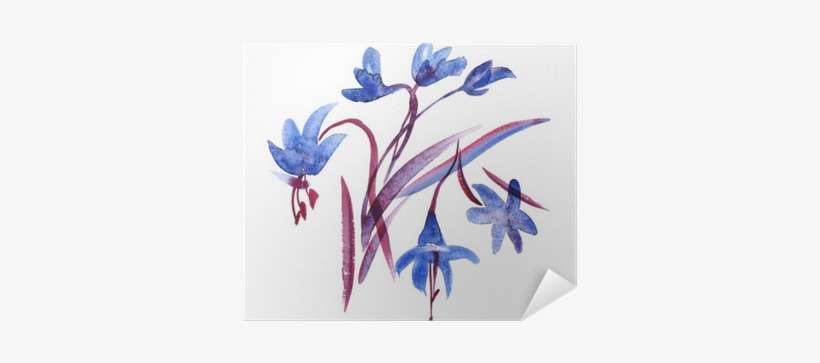 Watercolor Spring Blue Flowers On White Background - Watercolor Painting, transparent png #145418