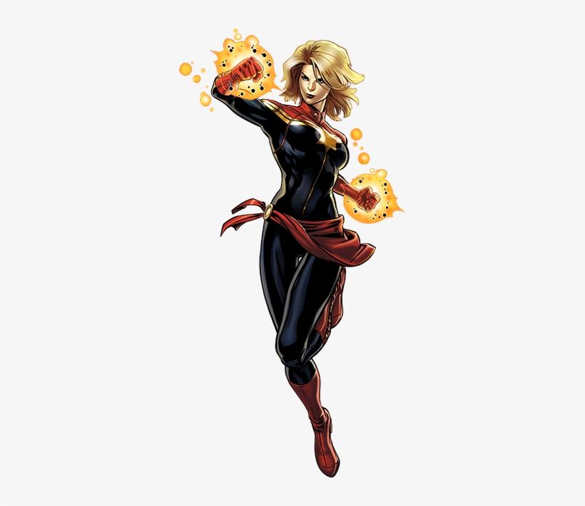 Captain Marvel Right Portrait Art - Ms Marvel And Wonder Woman, transparent png #147191