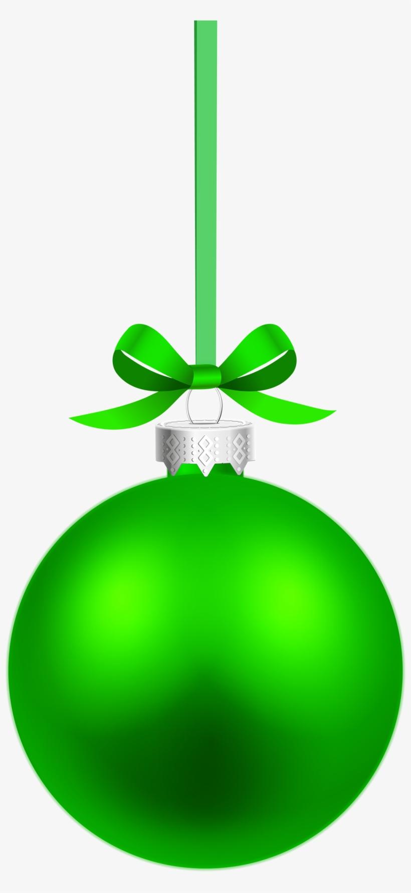 Green Hanging Christmas Ball Png Clipart - Green Christmas Ball Vector, transparent png #147327