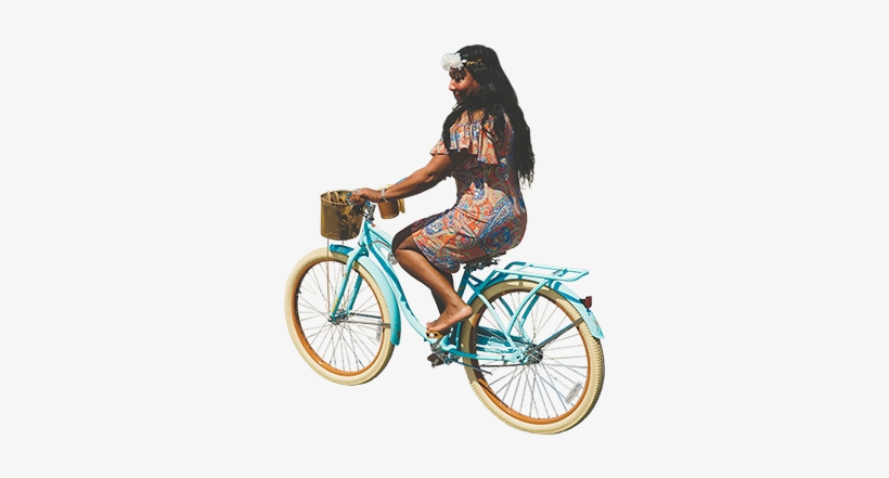 Girl Retro Bicycle Architecture - Riding Bike Png, transparent png #148627