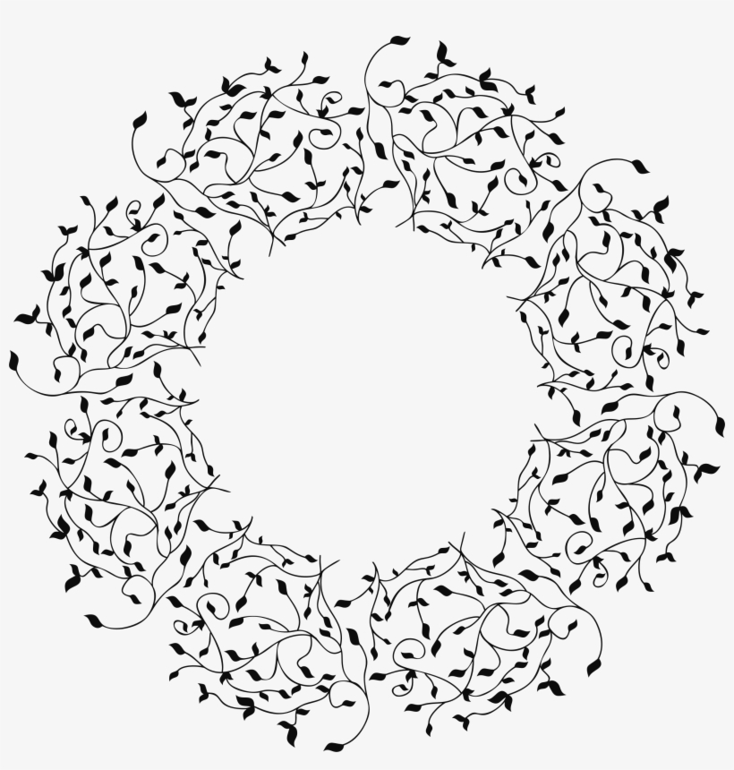 Leafy Frame Big Image Png - Vines In A Circle Drawing, transparent png #148787