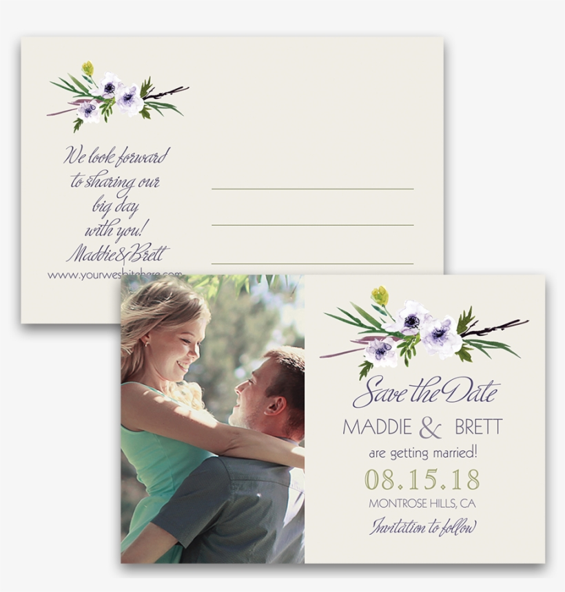Floral Wedding Save The Date Watercolor Style Postcards - Home Sweet Home: A Sweet, Texas Novella, transparent png #149183