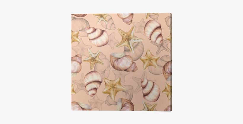 Marine Pattern With Shells - Watercolor Painting, transparent png #1409734