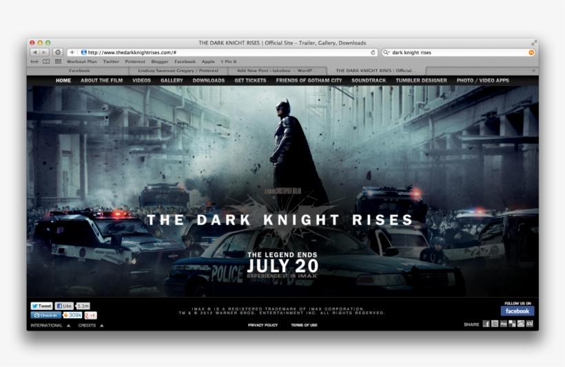 Official Website For The Dark Knight Rises - Batman Dark Knight Heath Ledger Movie Canvas Print, transparent png #1416817