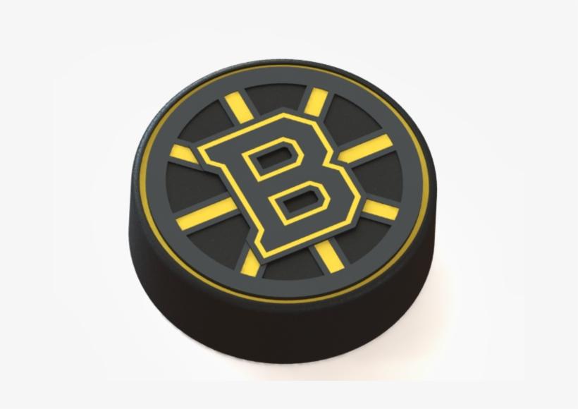 Boston Bruins Logo On Hockey Puck 3d Print - Bruins Hockey Puck Logo, transparent png #1421872