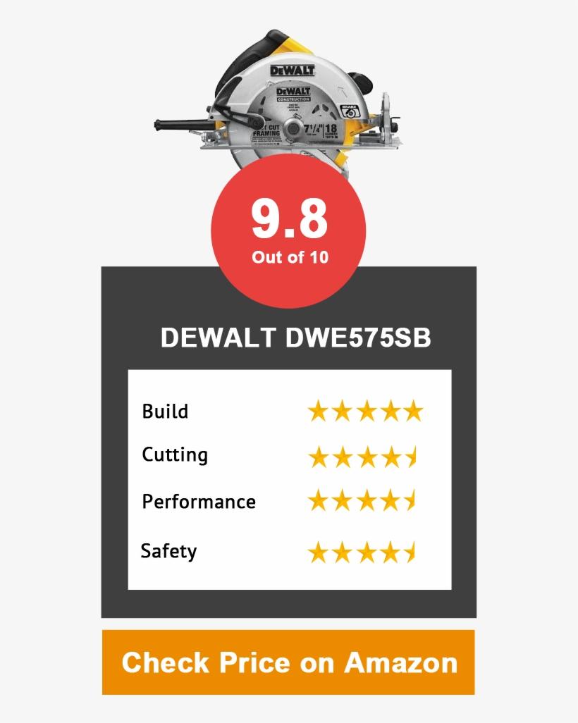 Dewalt Has A Reputation For Creating Terrific Tools, - Dewalt Dwe575 Circular Saw,7-1/4, transparent png #1422903