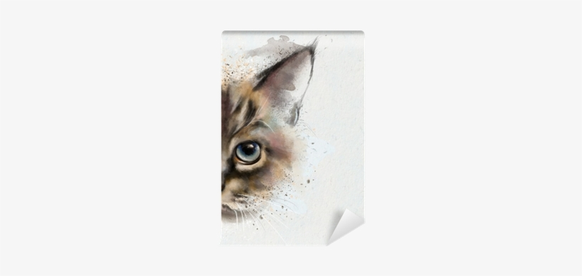 Watercolor Portrait Of A Cat, Half Quizzically At The - Face Cat, transparent png #1432996