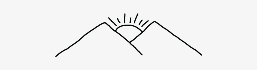Mountain Draw Png - Mountain With Sun Drawing - Free Transparent PNG