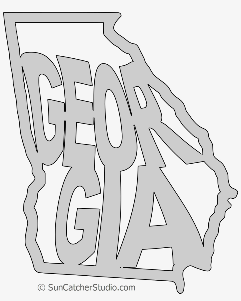 Outline Of Georgia Map.Georgia Map Shape Text Outline Scalable Vector Graphic Scalable