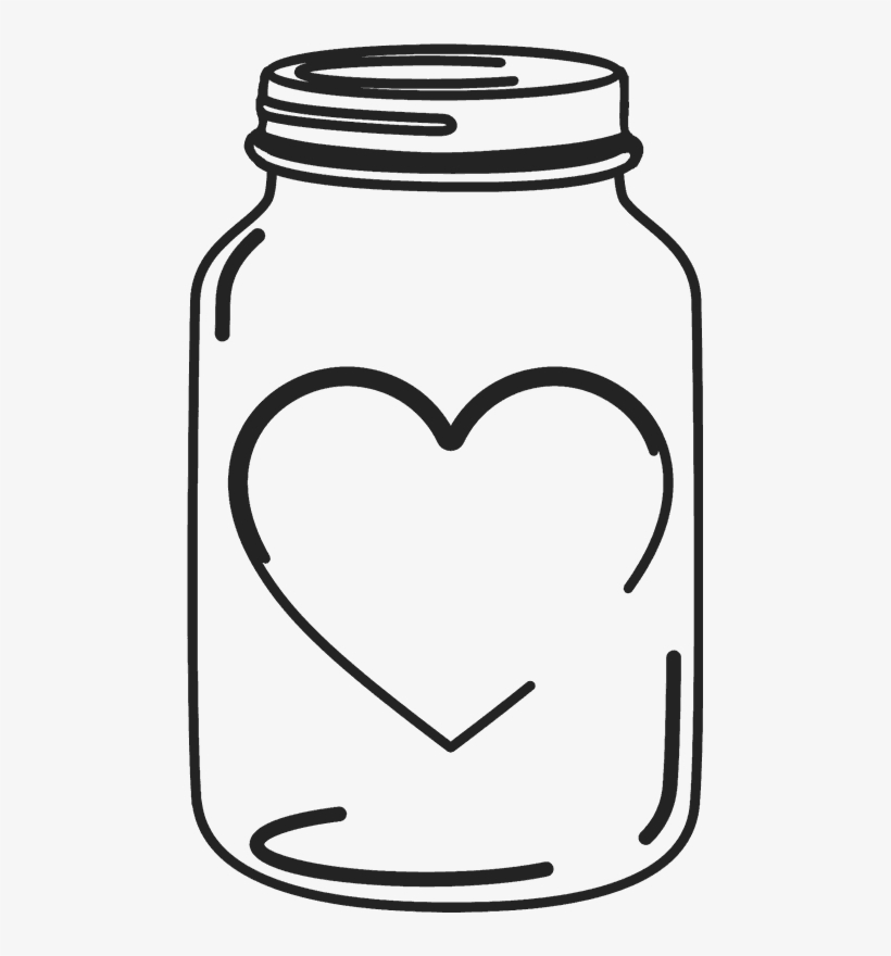 Mason jar heart. Rubber stamp with wedding