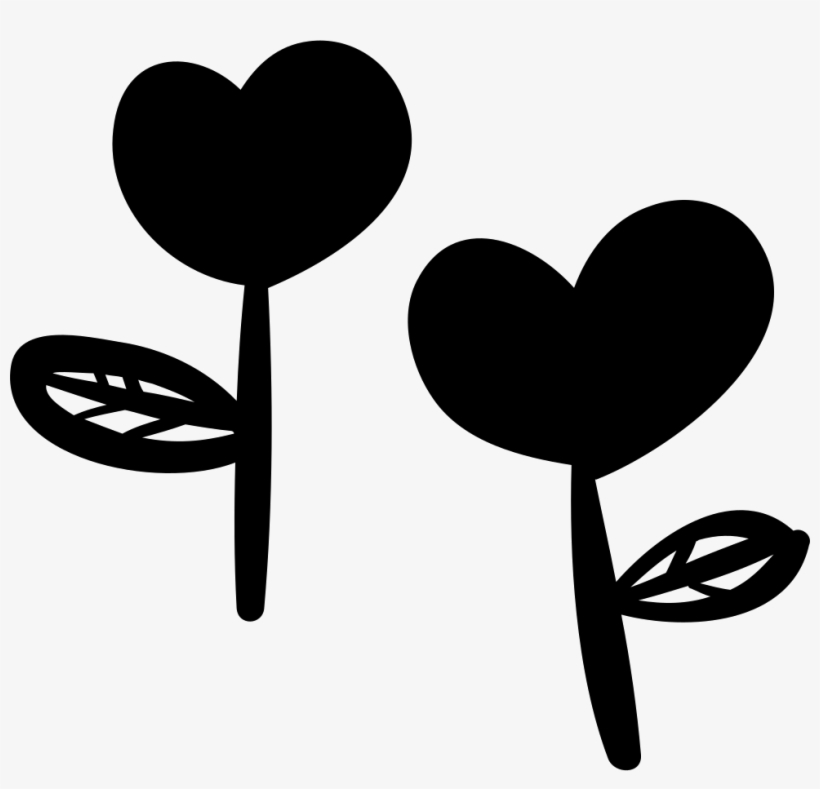 Two Heart-shaped Flowers Logo - Black Flower Heart Icon Png, transparent png #1446805