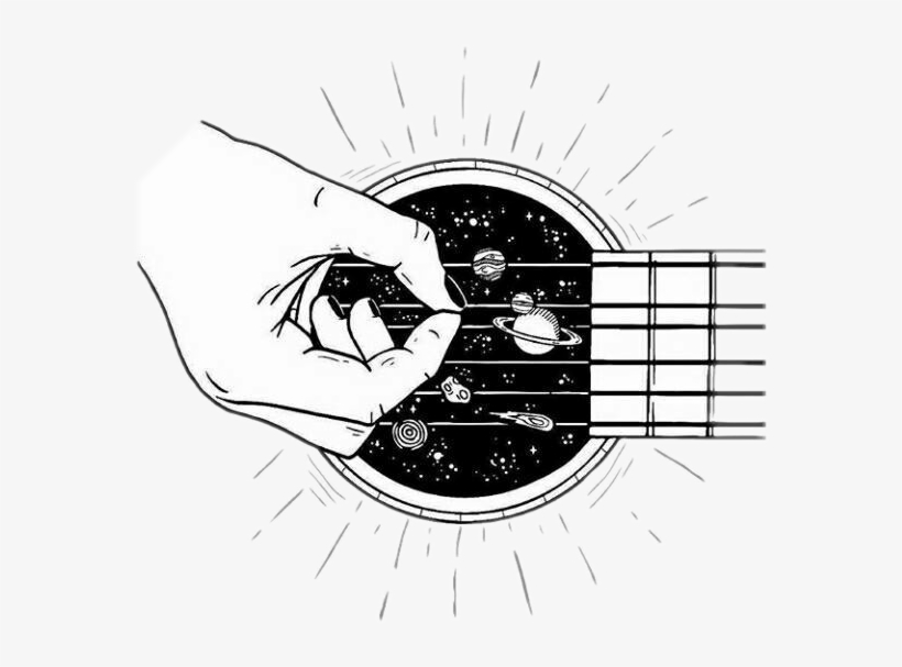 Guitar Galaxy Blackandwhite Tumblr Outline Black And White Aesthetic Clipart Free Transparent Png Download Pngkey