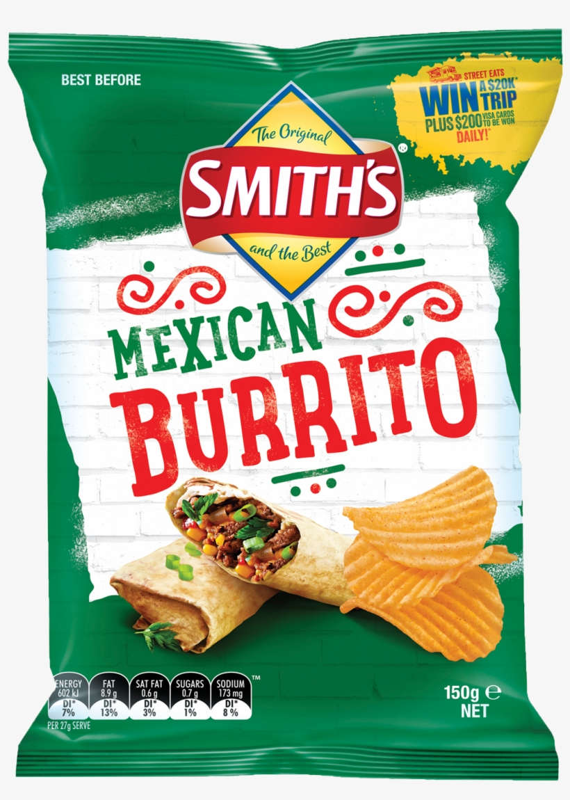 Smith's Mexican Burrito Chips 150g - Smiths Mexican Burrito Chips, transparent png #1452532