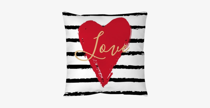 Hand Drawn Heart On Striped Background - Heart, transparent png #1452673