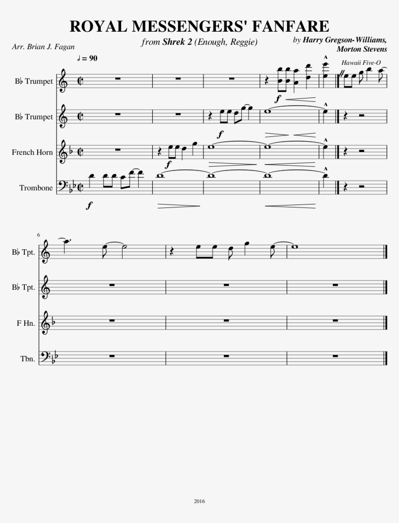 Royal Messengers' Fanfare Sheet Music Composed By By - Avengers Trombone Sheet Music, transparent png #1454093