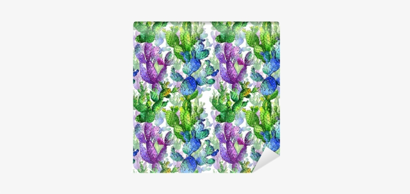 Wildflower Cactus Flower Pattern In A Watercolor Style - Watercolor Painting, transparent png #1455419
