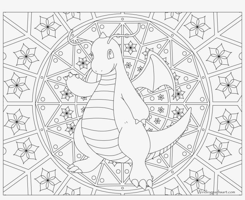 #149 Dragonite Pokemon Coloring Page - Pokemon Adult Coloring Pages, transparent png #1469884