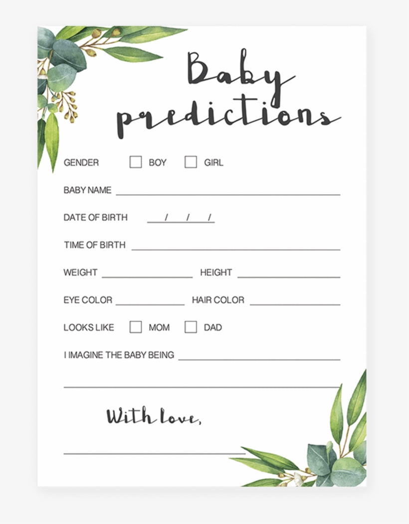 Watercolor Leaves Baby Predictions Game Printable By - Baby Shower Emoji Pictionary Free, transparent png #1470916