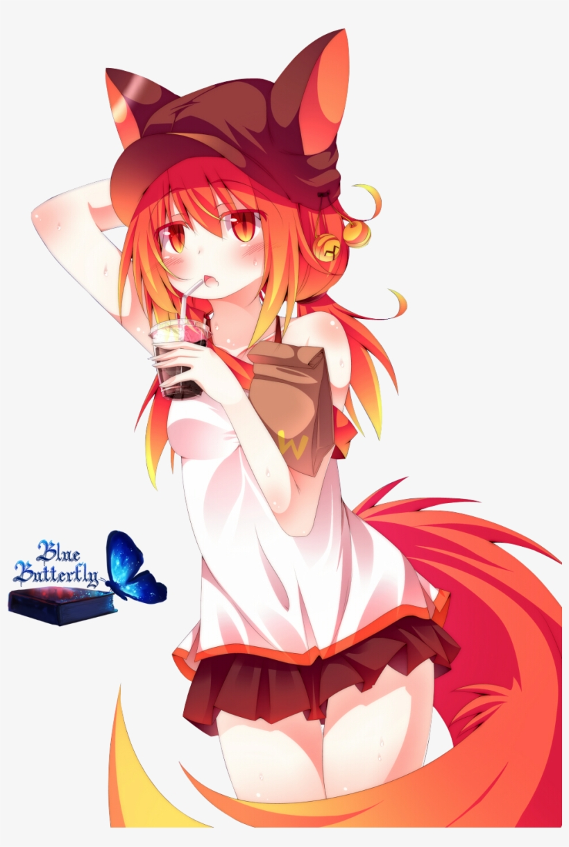 #8 Anime Fox Girl Render By Butterfly Blue B - Red Anime Fox Girl, transparent png #1473598