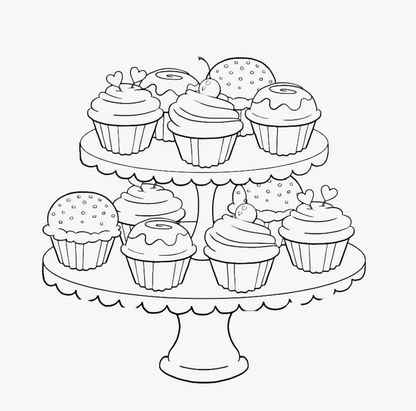 Cupcake Tower Coloring Pages For Adults - Coloring Pages For Adults Cupcakes, transparent png #1478425
