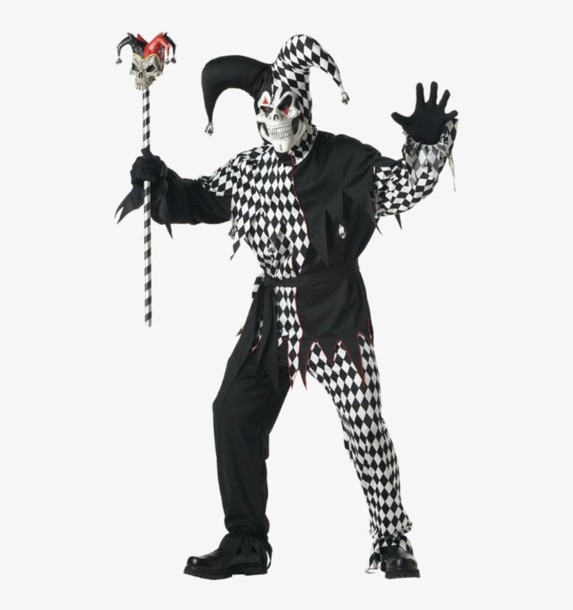 Adult Black And White Evil Jester Costume - Jester Halloween Costume, transparent png #1478706