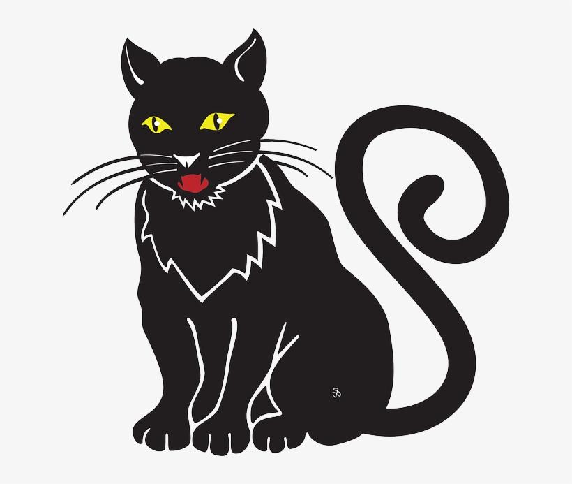 Cat Halloween Meow Whiskers Hiss Omen Black Cat Cartoon