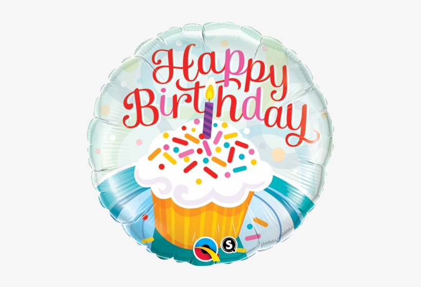 """18 Inch """"happy Birthday"""" Foil Balloon As Pictured - Birthday Cupcake And Sprinkles Balloon In A Box, transparent png #1479237"""
