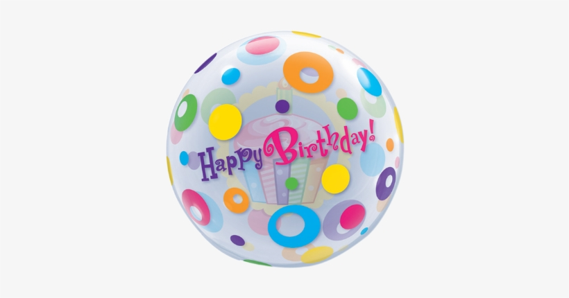 Birthday Cupcake & Dots Bubble Balloon - Bubble Balloon - Birthday Cupcake & Dots 56 Cm, transparent png #1479680