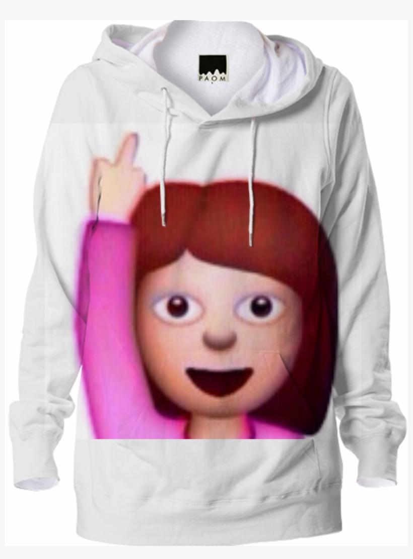 Shop Emoji Middle Finger- Hoodie By Xx - Emoji Girl Fuck You, transparent png #1480995