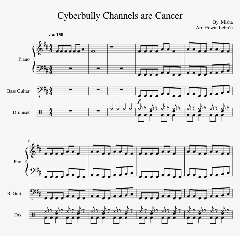 Cyberbully Channels Are Cancer Sheet Music Composed - Budweiser Here Comes The King Sheet Music, transparent png #1483182