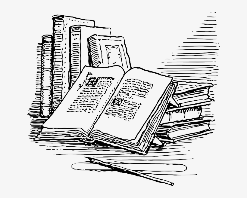Outline, Open, Reading, Books, Book, Automatic - Old Book Clipart, transparent png #1483872