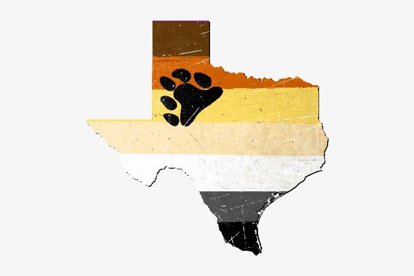 Texas Silhouette Bear Pride Flag - Texas Gay Bear Pride Flag Tshirt, transparent png #1484957