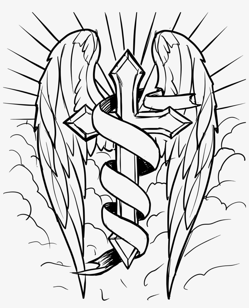 Cross With Ribbon Drawing At Getdrawings - Cross With Wings Coloring Pages, transparent png #1486605