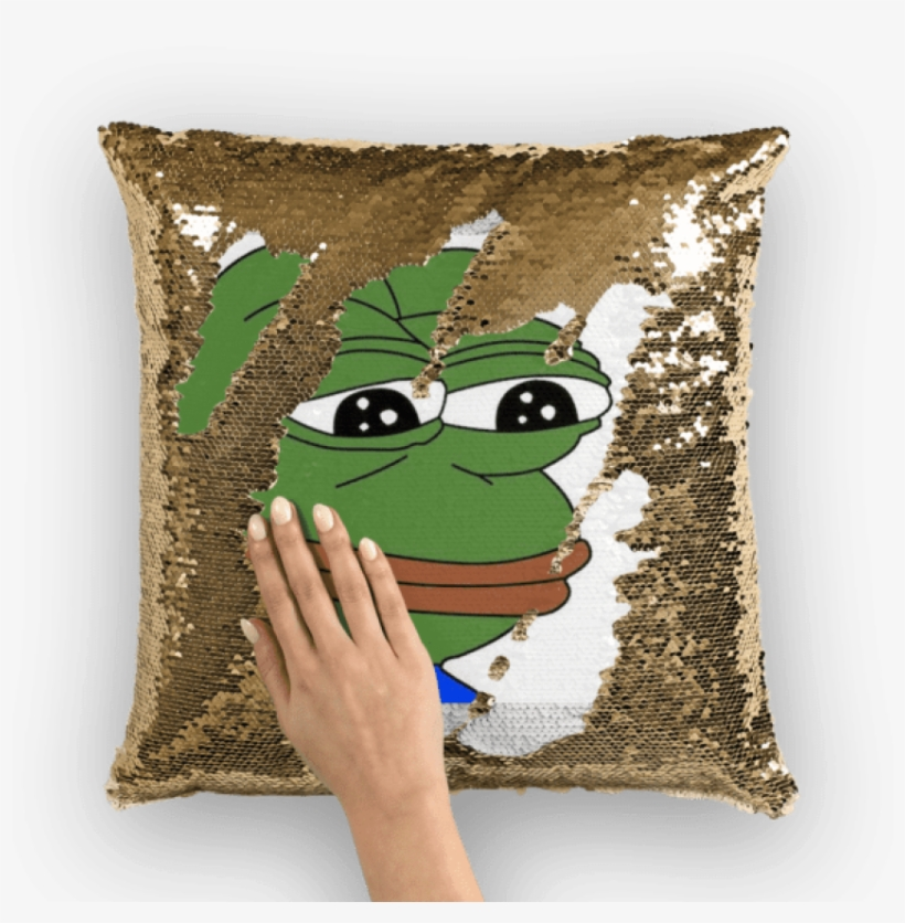 "Sad Pepe - Sequin Pillow - Sad Frog Square Sticker 3"" X 3"", transparent png #1486770"