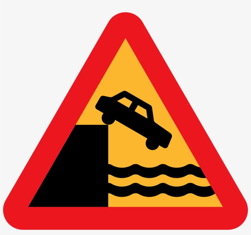 Sunset Cliffs Shaka Maverick - Car Off Cliff Road Sign, transparent png #1492363