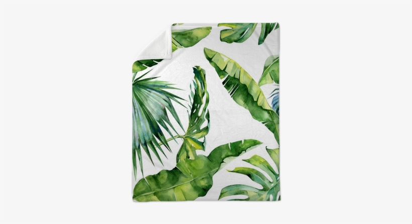 Seamless Watercolor Illustration Of Tropical Leaves, - Dense Tropical Leaves, transparent png #1493509