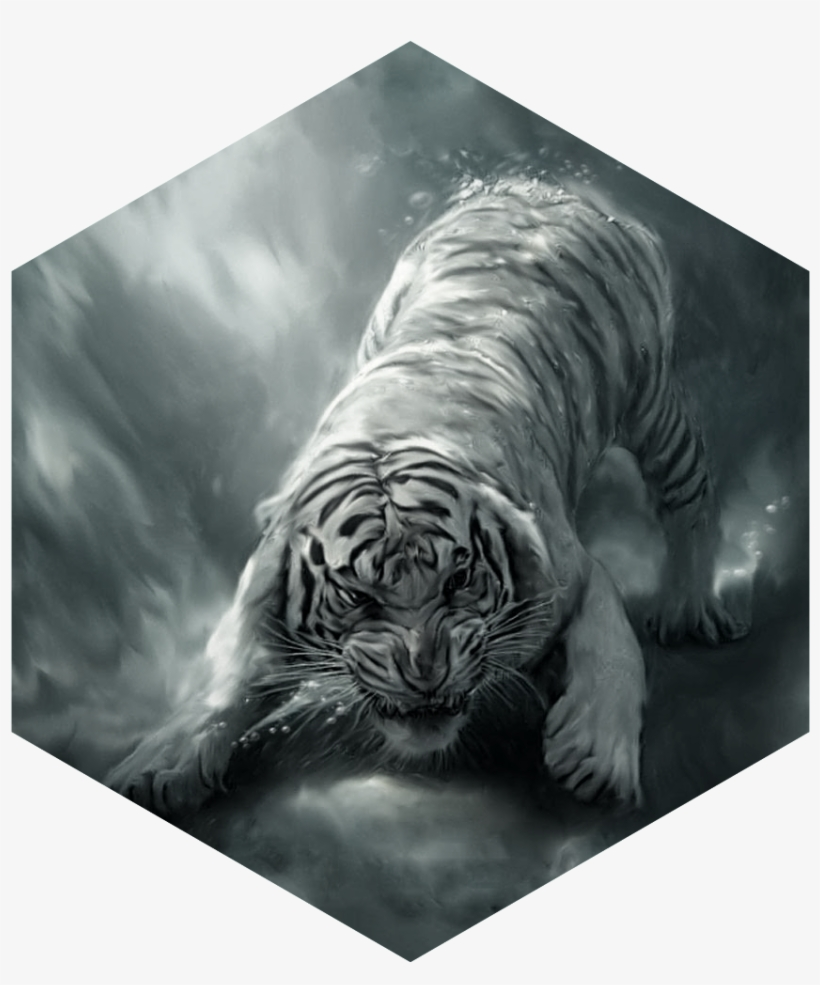 Painting White Tiger Angry - Hd Wallpaper Of Tiger - Free