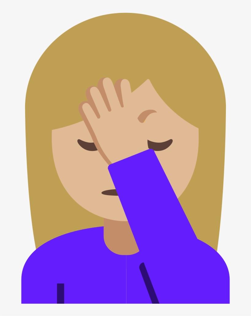 Emoji Facepalm Png ↺ - Mujer Con La Mano En La Frente Emoticon, transparent png #1498640