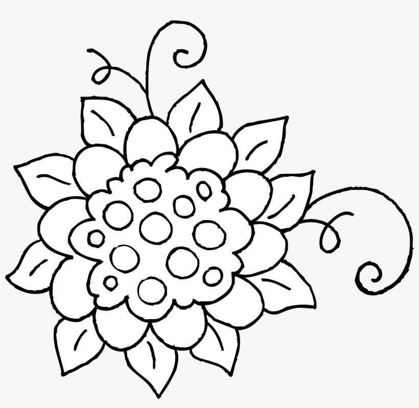 Cute Flower Coloring Page Free Clip Art